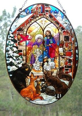 "AMIA Glass ""Nativity""  Oval Suncatcher - Hand Painted  -  NEW"