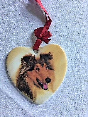 "Ceramic Collie Dog Christmas Ornament Heart Shaped Painted 3"" Porcelain"