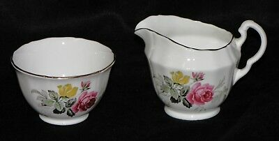 Lovely Adderley England Porcelain Fine Bone China Creamer & Sugar Set Roses