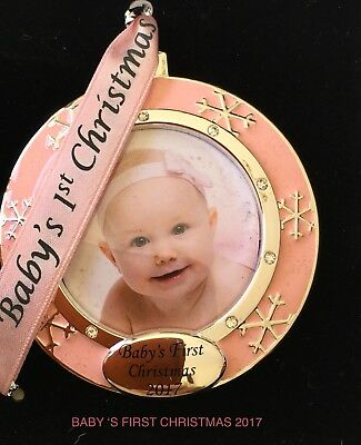 Baby's First Christmas 2017 Silver Plated Round Picture Frame With Crystals Pink