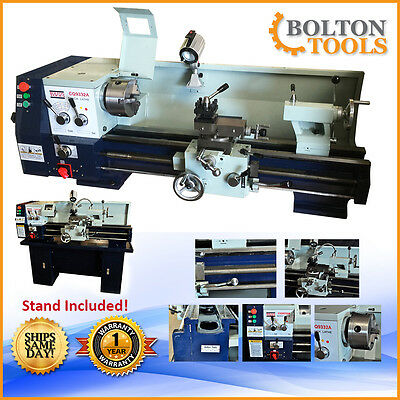 """NEW Bolton Tools CQ9332A Lathe 12"""" x 30"""" Gear Head Metal Lathes STAND INCLUDED!"""