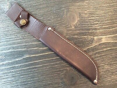 """Soft Brown Leather Belt Sheath For Straight Fixed Knife Up To 6"""" Blade"""