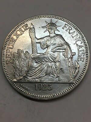 1925 1 Piastre French Indochina Silver Coin KM# 5a.1