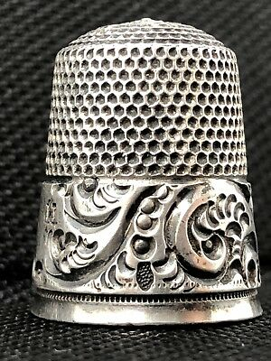 Antique SIMONS BROTHERS Decorative Sterling Silver Sewing Thimble USA Size 11