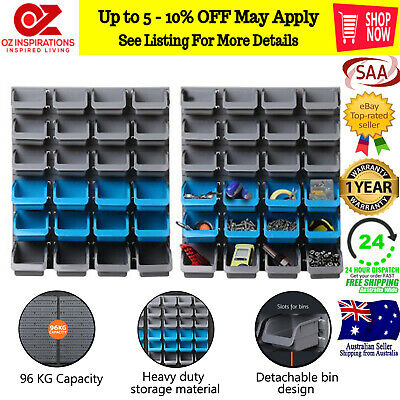 48 Piece Bin Wall Mounted Storage Rack Tools and Accesories Organizer Holder