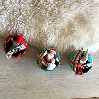 Vintage Ornaments, Lot Of Three, Made In Japan, Christmas Decor