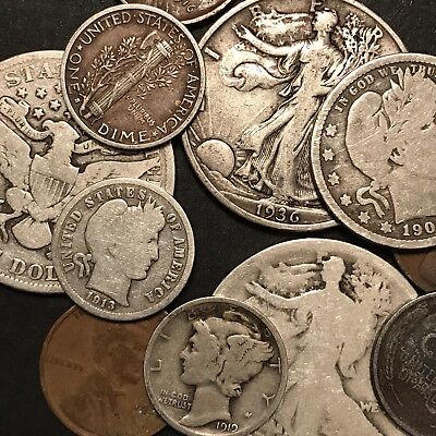 Lot Of Old US Silver, Copper, Steel Coins