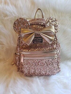Disney Parks  Loungefly Rose Gold Ears Sequin Minnie Mini Backpack