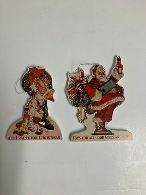 Bethany Lowe Dummy Board Ornaments Set of 2:   Little Boy and Santa