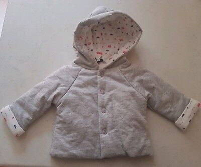 BNWOT Bebe by minihaha boys grey coat with boats and white lining. Sz 00.