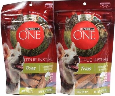 2 Purina One 5 Oz True Instinct Trios Chicken Turkey & Duck Recipe Dog Treats