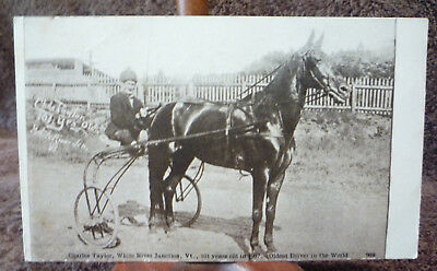 1907 White River Junction, VT Vermont CHAS TAYLOR 101 Year Old Race Horse Driver