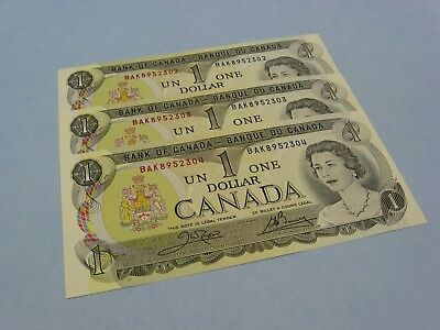 "Lot of 3   1973 Canada 1 dollar note bill crisp ""uncirculated"" .. consecutive"