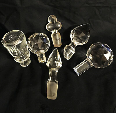 Lot Of 6 Antique Larger Glass Stoppers For Decanters And Perfume Bottles