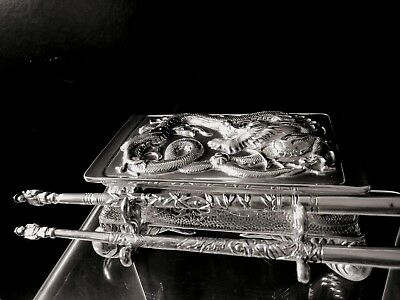 Chinese export steriling silver dragon inkwell 1880two dip steriling silver pens