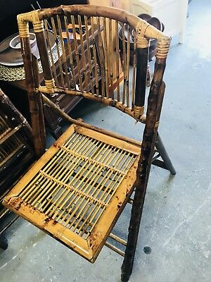 Mid-century tortoise bamboo folding chair rattan wicker chippendale vintage