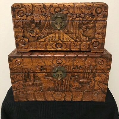 Vintage Hong Kong High Relief Hand Carved Wooden Chest-Lock Box (2) inc