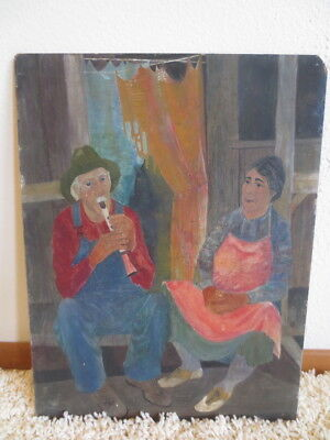 Vintage Original Folk Art Painting On Board Country Couple Front Porch Playing R