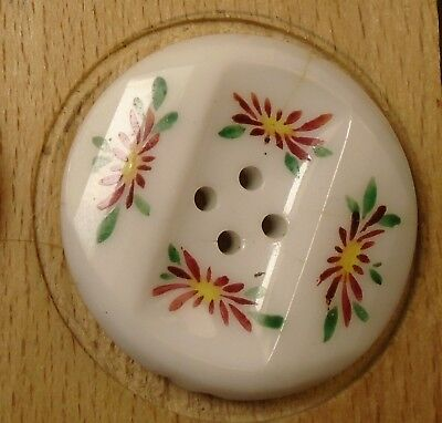 """NICE 1 3/16"""" Painted Four Hole  Glass Antique Button 722:24"""