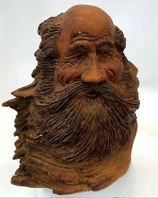 "Vintage 8"" Hand Made Plaster Old Man Winter Intricate Faux Carved Wood Sculpture"