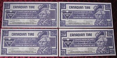 (4) Four $.25 Cent Canadian Tire Bonus Notes  Circulated  (V)