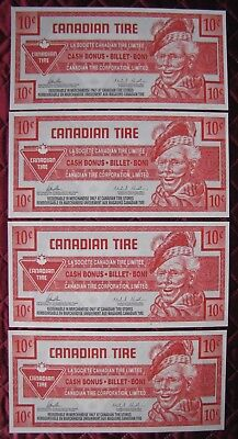 (3) C0Nsecutive 2014 $.10 Cent Canadian Tire Bonus Notes  Circulated  (X)