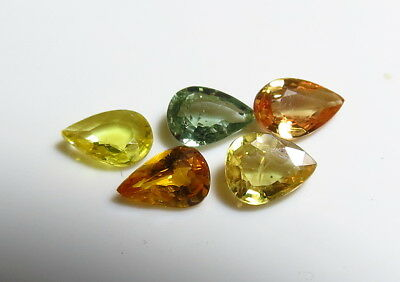 5pc FANCY COLOUR NATURAL SAPPHIRE faceted PEAR CUT GEMSTONE LOTS
