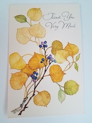 Lot of 7 Ambassador Hallmark Note Cards THANK YOU VERY MUCH Autumn Leaves UNUSED