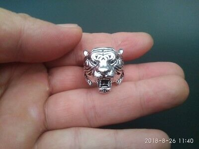 EXQUISITE CHINESE OLD TIBET SILVER CARING CARVED Tiger MAGIC RING RT019