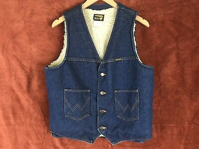 VTG 70s Wrangler Cowboy Sherpa Denim Vest Men's Large Crafted With Pride in USA