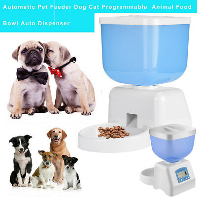 Automatic Pet Feeder Dog Cat Programmable Food Bowl Dispenser&Timer LCD Display