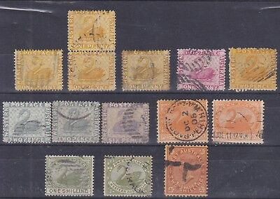 WA76)Western Australia small selection of 14 with first design perf issues to 6d