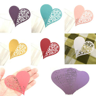 10 Hollow Out Name Place Cards Heart Cup Card Wine Glass Wedding Party Decor