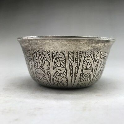 Exquisite Chinese Ancient Tibetan Silver Copper  Hand-Carved Bowl