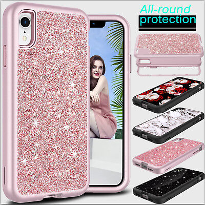 For Apple iPhone XR Phone Case Shockproof Hybrid TPU Bling Glitter Bumper Cover