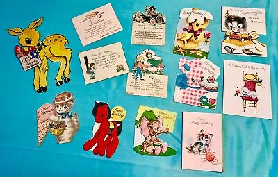 Vintage Lot Of 13 Childs Birthday Cards, Kittens, Animals, From 1920's -1950's