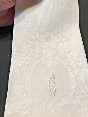 "Vintage 2 Irish Linen Huck Damask Monogramed Towel, Letter "" C "", Never Used"