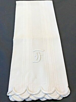 "Vintage Irish Linen Huck Damask Towel,Letter "" F "", BATH SIZE Un-Used, Wedding !"