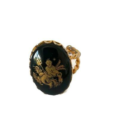 Aquarius Black Gold 18KT Cameo Ring Zodiac Glass Water Bearer Merman Adjustable