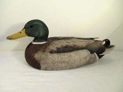 Vtg Hand Carved/Painted Duck Decoy-Glass Eyes-Mallard-Jim Gioan 1985