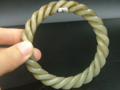 Antique  Chinese Celadon Nephrite Hetian- jade bangle  3-Twisted silk bracele