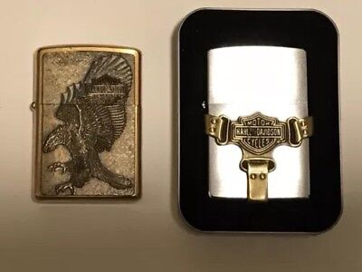 Two Harley Davidson Zippo Lighters Brass Eagle Boot Strap