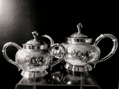 Chinese export  steriling silver teapot with tea caddy family crest 1890's
