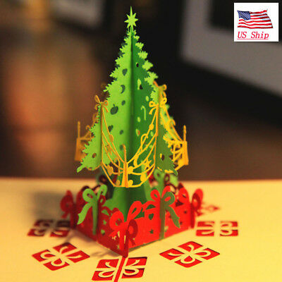 US! 3D Pop Up Paper Card  Christmas Tree Xmas Greeting Holiday Birthday Gift
