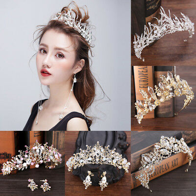 Fashion Bridal Crown Wedding Headdress Flower Crystal Hair Accessories Ornament
