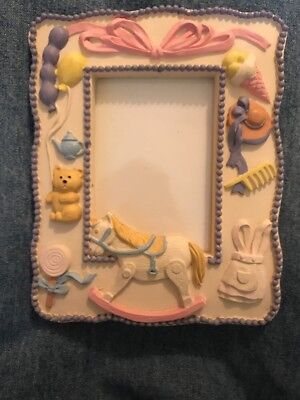 Nursery Decor Baby's Picture Frame Rocking Horse Teddy Lollipop Apron Hat Ribbon