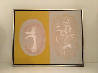 Vintage American Mid-Century Modern Abstract Signed SARR 1968 Oil Painting
