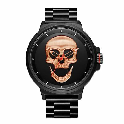 2018 Cool Punk Skull Men Watch Steel Gold Black Quartz Watches Male Watch RO