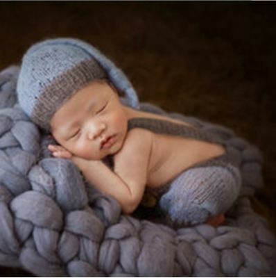 Light Blue and grey Mohair Knot Hat and Overall Pants Set Newborn Photo Props