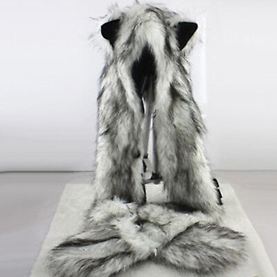 5929ce61 Wolf Hood Faux Fur Hat With Scarfs Mittens Ears And Paws Spirit 3 in 1 Warm